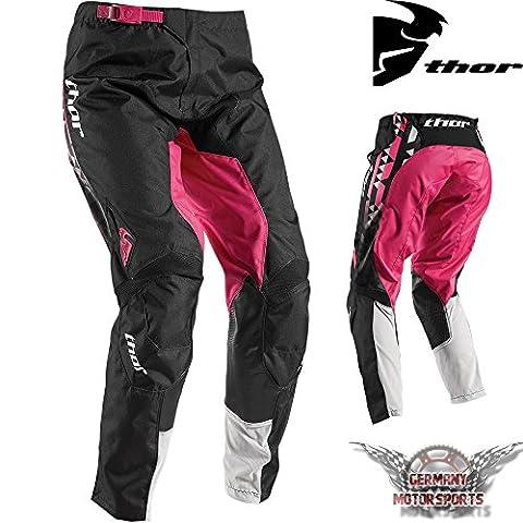 Motocross femmes Pantalon Offroad Thor Pulse Facet Rose Noir Cross Enduro, Quad MX