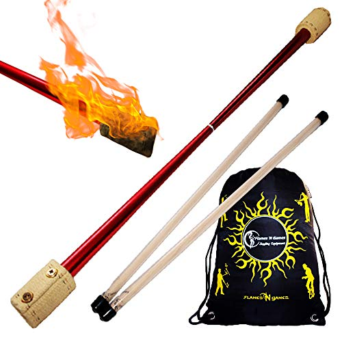 Falcon Profi Feuerdevilstick (von FyreFli) Feuer Devilsticks /65mm Docht Kevlar - inkl. Ultra-Starken Fiberglas Handstäbe mit 2 mm Super-Grip Silikon, + Flames N Games Reisetasche! Für Anfänger und Profis.