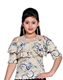 #1: Hunny Bunny Girls Printed Cold Shoulder Ruffles sleeves Ribbed Fabric Top