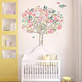 denoda Blühender Kirschbaum mit Vögeln - Wandsticker (Wandsticker Wanddekoration Wohndeko Wohnzimmer Kinderzimmer Schlafzimmer Wand Aufkleber)