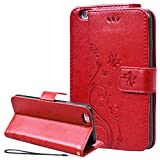 SMART LEGEND iPhone 6 Plus/iPhone 6S Plus [Nicht für iPhone 6 / 6S] Hülle Handyhülle Schmetterling Weinstock Schutzhülle Rot Leder Flip Case mit Kartenfächer Magnet Standfunktion Etui