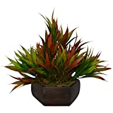 #7: Thefancymart Artificial Bamboo leaves plant (size 7.5 inchs/ 20 cms) with wood Hexagun pot-1382