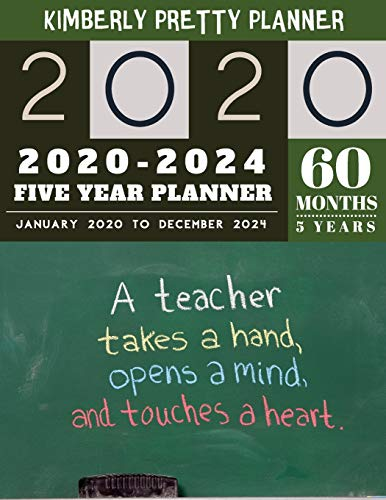 5 Year Planner 2020-2024: planner 5 year with holidays | internet login and password | 5 Year Goal Planner | Five Year Life Goal Plan | Black Board Design (5 year monthly planner 2020-2024, Band 77)