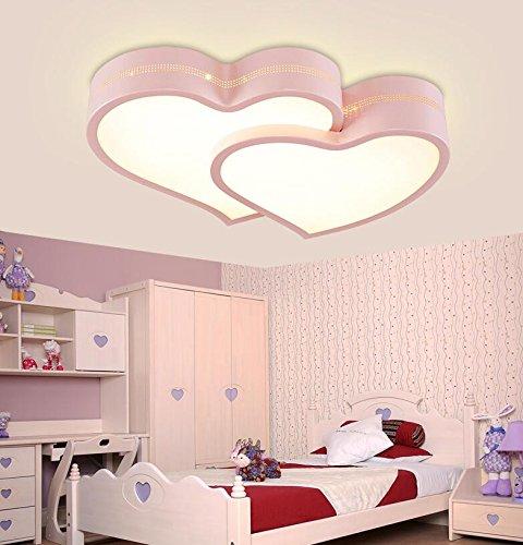Gqlb il ledstanza dei bambini luce da soffitto24wragazzi e ragazze nella camera da letto principale è caldo e romantico a forma di cuore in camera matrimoniale bambini princess lampada50*36*9cmil tri-temperatura di colorecherosa