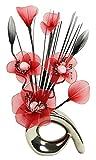 Flourish 793227 32 cm Mini Motif Vase et bouquet de fleurs artificielles Rouge