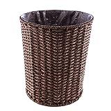 Winni43Julian Mülleimer ohne Deckel- Rattan Papierkörbe - Handstrickdesign - 28 * 25 * 25cm - Kaffee