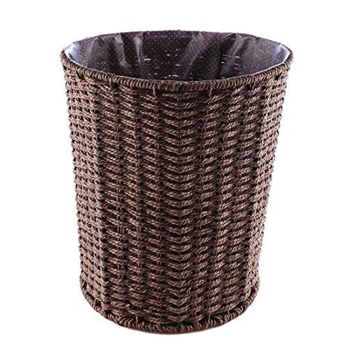 Touchmark Papierkorb, Geflochtener Papierkorb, Geflochten Mülleimer für Büro, Küche, Handarbeit, rund, 25 * 25 * 28cm, Kaffee -