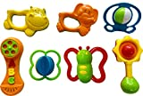 Blossom Baby Teethers Rattle Toy Set (Set of 7 Pcs) with Various Exciting Rattle Toys for New Borns & Infants, Multi Color