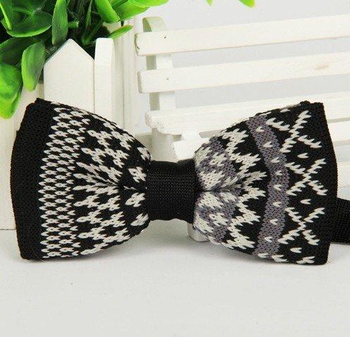 Noeud Papillon Tricoté noir motif blanc pour mariage, travail ou tout autre événement noir motif blanc A