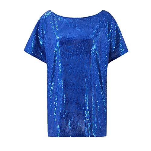 Kalte Schulter Band-sleeve Top (Damen T-Shirt - Leichtes Schweißableitendes T-Shirt Kalte Schulter Tunika Top Kleider Loses Chiffon Blau M)