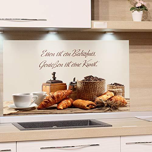 GRAZDesign Spritzschutz Küche für Herd Küchenrückwand Glas Spüle Bild-Motiv Zitat Essen ist EIN Bedürfnis, Küchenspiegel (80x40cm)