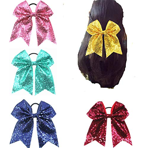 Cuhair 1-pieces fête à paillettes Bowknot élastique Queue de cheval support Cheveux Cravate Cheveux Band Accessoires Cheveux pour femmes filles (vin)