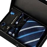 Hombres Corbata Gemelos Pañuelo y Clip de Corbata (Caja Negra, 9)