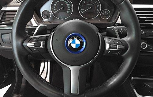 Adhesivo de aluminio azul para el volante de la serie B M W de 45 mm con el logotipo de la serie 1 2 3 4 5 6 7 8 X1 X2 X3 X4 X5 X6 Z3 Z4 GT