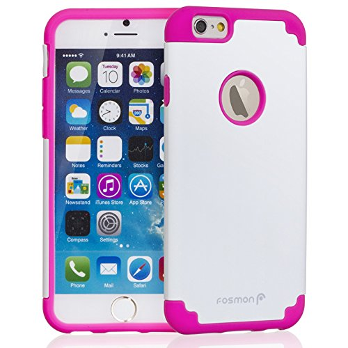 "Fosmon HYBO-DUOC Detachable Hybrid Silicone + PC Case for Apple iPhone 6 (4.7"") - Red (Silicone) / Navy Blue (PC) rosa/weiß"