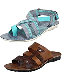Earton Men Combo Pack of 2 Sandals With Slipper