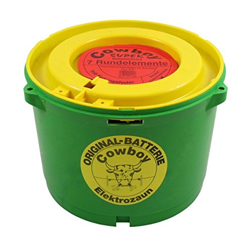 Original Cowboy Weidezaunbatterie 10,5 Volt grün STANDARD ohne Erdungsplatte, Trockenbatterie, Batterie für Eider Weidezaungerät Bullenschreck - Anschluss mittels Anschlusskabel