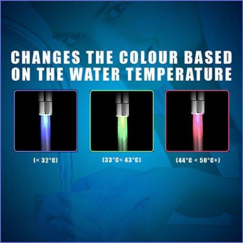 LED Wasser Wasserhahn ändert sich die farbe je nach Temperatur auf der Wasser. Blau für Cool, grün für Warm, rot für Hot. Passt Männlich & Innengewinde Wasserhähne perfekt für Küchen und Badezimmer von toilight -