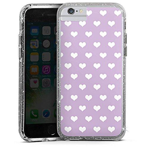 Apple iPhone X Bumper Hülle Bumper Case Glitzer Hülle Herzchen Flieder Polka Bumper Case Glitzer silber
