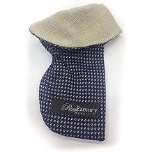 Real Luxury Napoli - Pochette Sartoriale Da Taschino - Porta Occhiali / Smart-Phone In Seta Blu Contrasto Cashmere Grigio