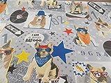 Mops Hunde, bunte Sterne, hochwertiger Stoff Meterware, 2 m