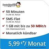 DeutschlandSIM LTE Mini SMS 1 GB [SIM, Micro-SIM und Nano-SIM] monatlich kündbar (1 GB LTE-Internet mit max. 50 MBit/s + Datenautomatik, 50 Minuten, SMS-Flat, 5,99 Euro/Monat) O2-Netz preiswert