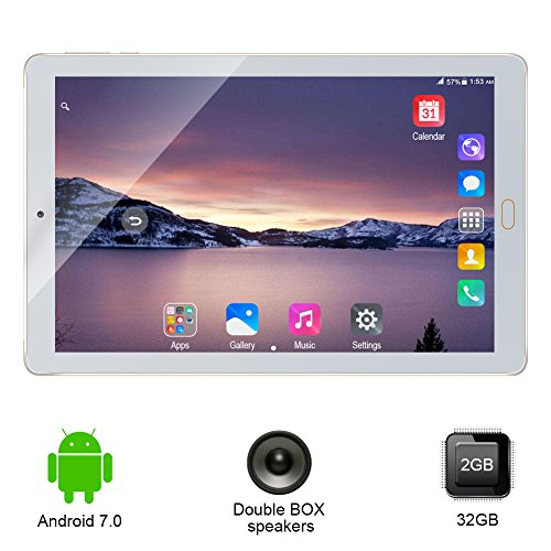 "10.1"" Inch Android Tablet PC,PADGENE® T9 2GB RAM 32GB Phablet Tablet Quad Core Tablets Dual Camera Sim Card Slots Wifi GPS Bluetooth 4.0 Google Play [2018"