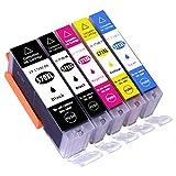 ESMOnline 5 komp. XL Tintenpatronen als Ersatz für Canon PGI-570 / CLI-571 (Schwarz/Photoschwarz / Blau/Rot / Gelb)