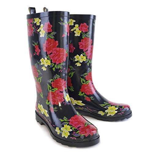 Mud Rocks Ladies Navy with Floral Print Tall Wellies/Wellington Boots UK 4-8