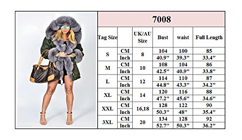 Roiii Hiver Lady Femmes veste parka épaississent longueur capuche manteau chaud outwear taille 36-52 Grün