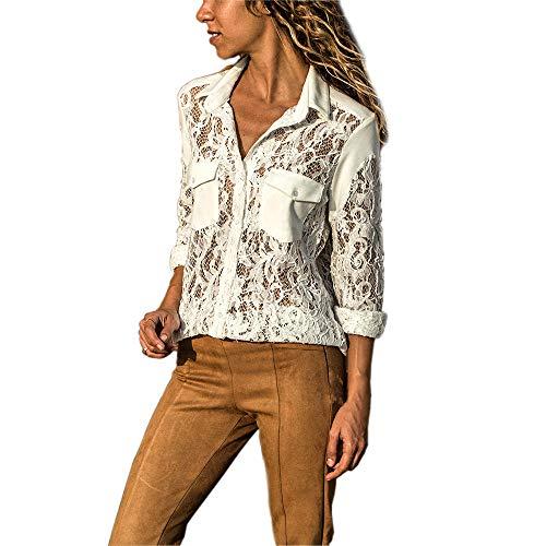 IMJONO Bluse Damen elegant Frauen Spitze Mode Vintage,Frauen Solide Langarm V-Ausschnitt Spitze Patchwork Button Up Front Shirt Tops(Large,Weiß)