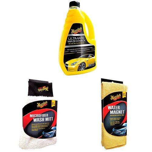 Meguiar's Ultimate Wash & Wax Autoshampoo mit Microfibre Wash Mitt und Water Magnet Microfiber Drying Towel