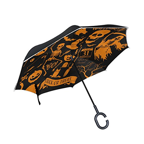 (jstel Double Layer seitenverkehrt Halloween Dekoration Regenschirm Cars Rückseite winddicht Regen Regenschirm für Auto Outdoor mit C geformter Griff)