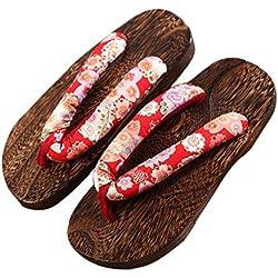 Sandalias Chanclas de Damas, Zuecos de Madera Japonés para Cosplay Fiesta, Plataforma Zapatos de Playa de Verano Zapatos para Mujeres Hombres Casuales