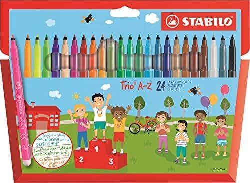 STABILO Trio A-Z - Étui carton de 24 feutres pointe moyenne - dont 4 couleurs fluo