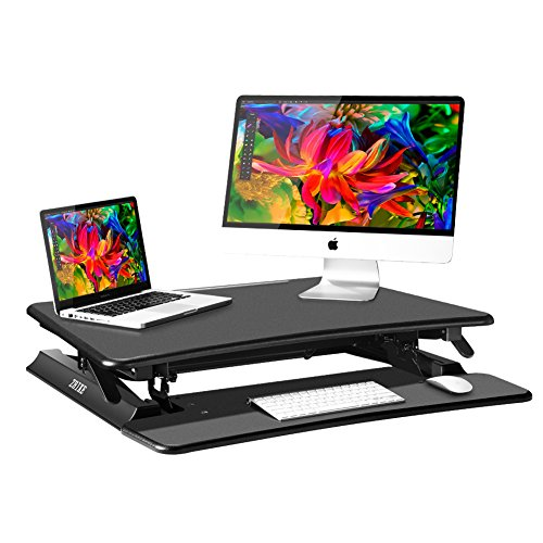 Cheapest Easy Lift Healthy Adjustable Engineering Preassembled Sit Stand Desktop ZHIKE Computer Workstation 19.7″ X-Elite Pro Height Adjustable Desk Converter with Keyboard Tray for Standing Workplaces (Black)