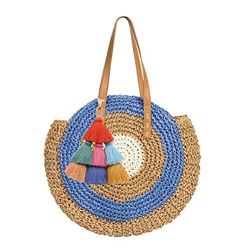 Mini Cute Damen Straw Woven Handtasche Sommer Strandtasche Tasche aus Leder Schultertasche Große Stroh Tasche mit Pompon -