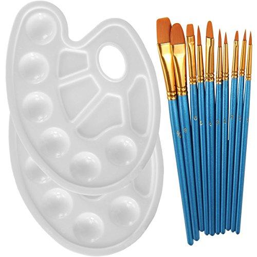 devbor 10Stück Tuschkasten rund Spitze Nylon Haar Pinsel-Set mit 2Stück Farbwanne palettes-professional Kunst Pinsel-Set für Aquarell, Acryl, Ölgemälde Supplies blau / weiß
