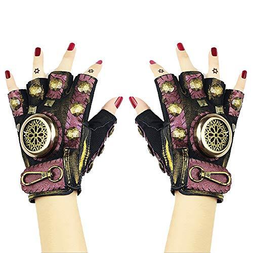 Peggy Gu Handgefertigte Leder Half Finger Handschuhe Gear Niet Metall Gothic Zubehör Punk Rock Frauen Vintage Halloween Steampunk Cosplay Requisiten (Größe : L) (Metal Gear Halloween-kostüm)