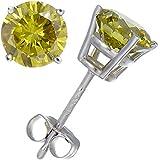 1 CT Yellow Diamond Stud Earrings 14k Gold