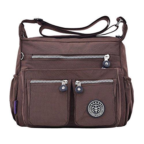 TIFIY Frauen Freizeit Solid Color Umhängetasche Wasserabweisend Schulranzen Form Nylon Reise Umhängetasche Gepäck Handtasche (Kaffee)