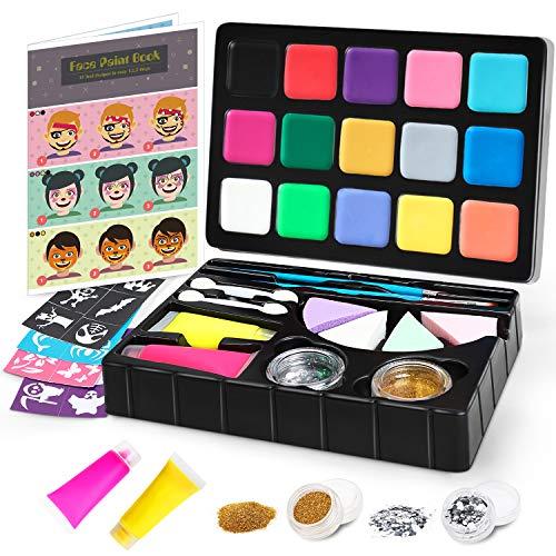 Jojoin colori trucco viso bambini, doppio strato body paint tavolozza con 15 colori, 2 colori liquidi, progetta libro di insegnamento - set per il trucco di carnevale di halloween