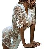 JiaMeng Biancheria Intima Camicia da Notte in Pizzo Bianco da Donna,  Moda Donna Ragazza Sexy Vestaglia Babydoll Pizzo Lingerie Accappatoio da Notte (M, Bianco)