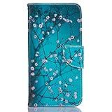 """Mo-Beauty®, cover a portafoglio per iPhone 7 4,7"""" (protezione per schermo inclusa), in eco-pelle, con disegno colorato e chiusura magnetica, tasca per carte e supporto da tavolo, Ecopelle, Plum blossom, iPhone 7 Plus"""