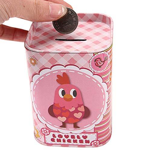 Hniunew Sparschwein MäDchen Pink Room Decor WeißBlech MüNze Bank Cartoon Chick Print Safe Tragbare Sparschwein FüR Kinder Spielzeug, Geschenke, Lustige Spardosen Spardose Kaufen (Rosa)