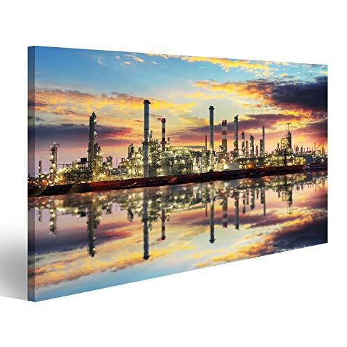 islandburner Bild auf Acrylglas Petrochemische Industrie - Ölraffinerie und Fabrik Wandbild Acrylglasbild Glasbild VDX