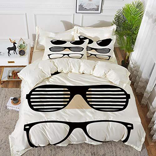 Bettwäsche-Set, Mikrofaser, Indie, Set von stilisierten altmodischen Sonnenbrillen Sommer Accessoires Hipster Vintage dekorativ, schwarz und weiß,1 Bettbezug 220 x 240cm + 2 Kopfkissenbezug 80x80cm