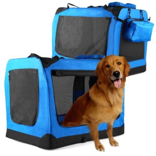 Hundetransportbox Hundebox  Hunde Katzen Transportbox 70cm x 52cm x 52cm Faltbar Blau - 2