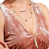ishine Damen Halskette Pailletten Perle mit Feder Anhänger Feine Kette in Legierung Einfache Stil Elegante Hals Schlüsselbein Dekoration für Strand Party Ball Golden