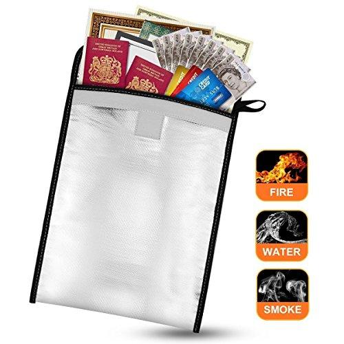 Feuerfestes Dokument Tasche, highwinner wasserabweisend Safe Tasche für Passport und wertvolle Gegenstände, silber (Feuerfest-datei Sicher)